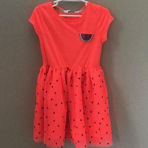 NWT H&M Girls Pink Watermelon Dress Glitter Tulle